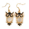 Gold Tone Black Enamel, Cat's Eye Stone Owl Drop Earrings - 45mm L