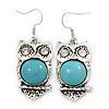 Vintage Inspired Turquoise Owl Drop Earrings In Silver Tone - 45mm L