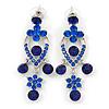 Sapphire Blue Austrian Crystal Chandelier Earrings In Rhodium Plating - 60mm L
