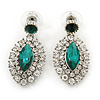 Prom/ Bridal Emearld Green/ Clear Austrian Crystal Oval Drop Earrings In Rhodium Plating - 38mm L