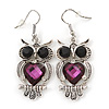Black/ Purple Crystal Owl Drop Earrings In Silver Tone - 50mm L