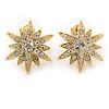 Gold Tone Crystal Star Stud Earrings - 25mm Across