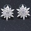 Silver Tone Crystal Star Stud Earrings - 25mm Across