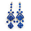 Long Sapphire Blue Austrian Crystal Chandelier Earrings In Rhodium Plating - 90mm L