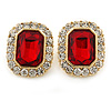 Gold Tone Clear, Red Crystal Square Stud Earrings - 23mm L