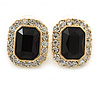 Gold Tone Clear, Black Crystal Square Stud Earrings - 23mm L