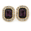Gold Tone Clear, Deep Purple Crystal Square Stud Earrings - 23mm L