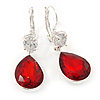 Red/ Clear CZ, Glass Teardrop Earrings With Leverback Closure In Silver Tone - 45mm L