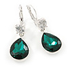 Emerald Green/ Clear CZ, Glass Teardrop Earrings With Leverback Closure In Silver Tone - 45mm L