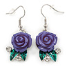 Purple Acrylic Rose with Crystal, Green Enamel Leaves Drop Earrings In Silver Tone - 40mm L