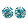 Button Shape Light Blue Crystal Stud Earrings In Rhodium Plating - 20mm D