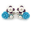 Blue, Purple, Glass Pearl Floral Stud Earrings In Rhodium Plating - 20mm L