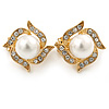 Bridal Diamante White Glass Pearl Clip On Earrings In Gold Plating - 23mm Diameter