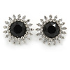 Bridal/ Prom/ Wedding Clear, Black Crystal Floral Clip-on Earrings In Rhodium Plating - 24mm