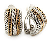 Vintage Inspired C-Shape, 2-Tone Textured Clip-On Earrings - 20mm L