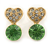 Small Clear/ Light Green Crystal Heart Stud Earrings In Gold Plating - 18mm L