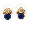 Tiny Sapphire/ Clear Round Cut Crystal Stud Earrings In Gold Plating - 10mm