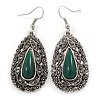 Teardrop Hematite Crystal, Green Resin Drop Earrings In Silver Tone - 50mm L