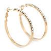 Gold Plated Clear Crystal Hoop Earrings - 40mm