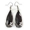 Silver Tone Black Acrylic Stone, Hematite Crystal Teardrop Earrings - 45mm L