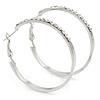 40mm Silver Tone Crystal Hoop Earrings