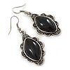 Victorian Style Black Ceramic Stone Diamond Drop Earrings In Silver Tone - 50mm L