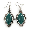 Victorian Style Green Ceramic Stone Diamond Drop Earrings In Silver Tone - 50mm L