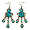 Victorian Style Teal/ Azure Acrylic Bead Chandelier Earrings In Antique Gold Tone - 80mm L