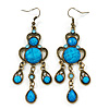 Victorian Style Blue Acrylic Bead Chandelier Earrings In Antique Gold Tone - 80mm L