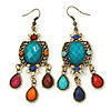 Multicoloured Acrylic Bead Chandelier Earrings In Antique Gold Tone - 75mm L