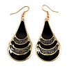 Black Enamel With Glitter Teardrop Earrings In Gold Tone - 65mm L