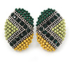 Boho Style Green/ Yellow/ Lime Beaded Oval Stud Earrings In Silver Tone - 25mm L
