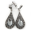 Marcasite Hematite Crystal, Light Grey Glass Teardrop Clip On Earrings - 45mm L