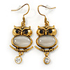 Antique Gold Tone Crystal Owl Drop Earrings - 50mm L