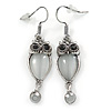 Burnt Silver Crystal Owl Drop Earrings - 50mm L