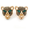 Gold Tone Black Enamel Tiger Stud Earrings - 20mm L