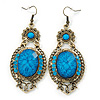 Victorian Style Blue Acrylic Bead, Crystal Chandelier Earrings In Antique Gold Tone - 80mm L