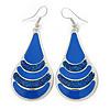 Royal Blue Enamel With Glitter Teardrop Earrings In Silver Tone - 65mm L