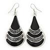 Black Enamel With Glitter Teardrop Earrings In Silver Tone - 65mm L