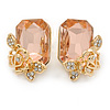 Champagne Square Glass with Rose Motif Stud Earrings In Gold Plating - 25mm L