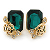 Green Square Glass with Rose Motif Stud Earrings In Gold Plating - 25mm L