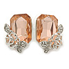 Champagne Square Glass with Rose Motif Stud Earrings In Rhodium Plating - 25mm L