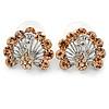 Champagne Crystal Peacock Stud Earrings In Rhodium Plating - 20mm