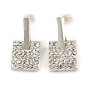 Silver Tone Crystal Square Drop Earrings - 22mm L