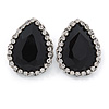 Black/ Clear Glass Teardrop Stud Earrings In Rhodium Plating - 30mm L