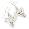 Elephant Head Drop Earrings In Silver Tone - 40mm L