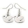 Small Dove Bird Drop Earrings In Silver Tone - 30mm L