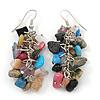 Multicoloured Semiprecious Stone Drop Earring In Silver Tone - 55mm L