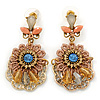 Boho Style Crystal Bead, Lacy Floral Drop Earrings In Gold Tone - 50mm L