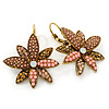 Bead, Crystal Flower Drop Earrings with Leverback Closure In Gold Tone (Pink, Citrine) - 40mm L